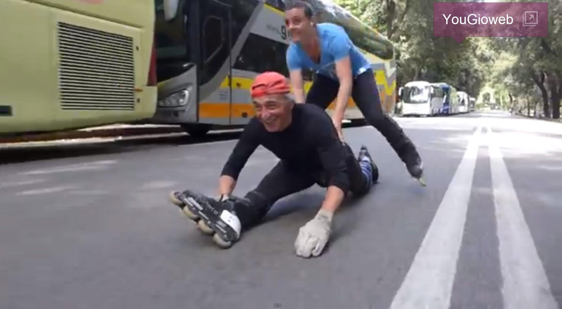 Franco Pulicati – ROMA (Pincio) 1 km in spaccata con i roller inline
