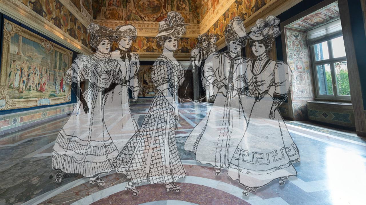 Quirinale: In pattini nel Salone dei Corazzieri.